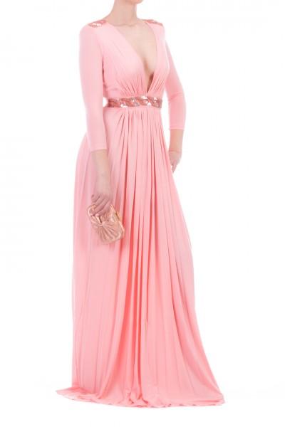 Elisabetta Franchi  Abito lungo con ricamo in vita e spalle AB01702E2 Pink
