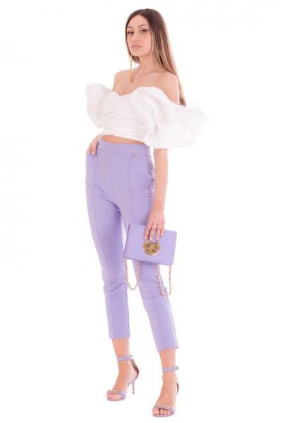 Elisabetta Franchi  Capri trousers with piping PA38711E2 Lavanda