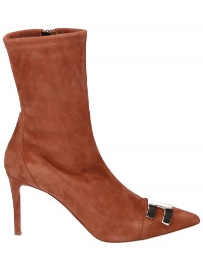 Elisabetta Franchi  Ankle boots with gold logo SA21L97E2 Gianduia