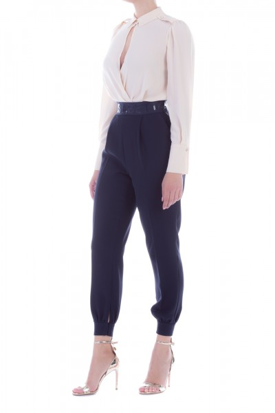 Elisabetta Franchi  Trousers with logoed waistbad Moves Line PA29096E2 Blu