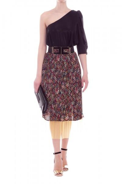 Elisabetta Franchi  Midi skirt with heart print and tulle GO23192E2 Nero