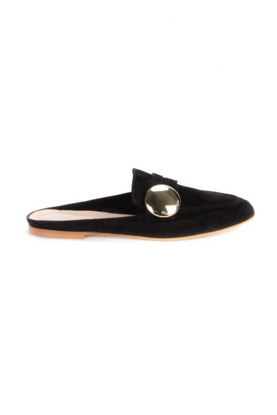 Manila Grace  FLAT MULES IN LEATHER WITH MAXI BUTTON S723LU