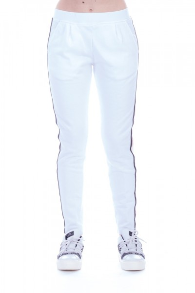 Manila Grace  Pantaloni con bande laterali P036FU BIANCO OTTICO