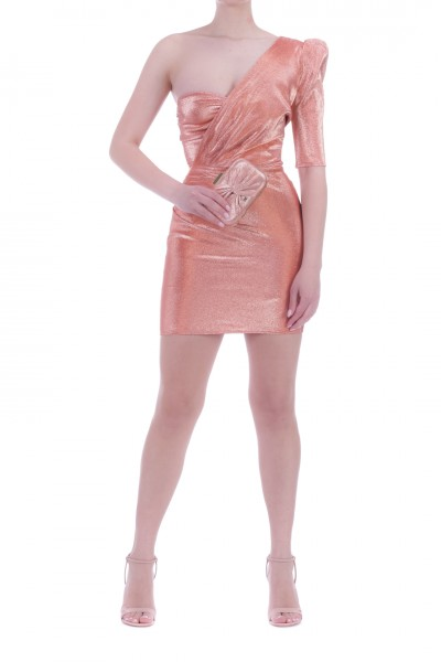 Elisabetta Franchi  Mini abito monospalla laminato AB00402E2 Pompelmo