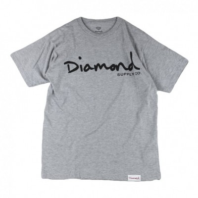 Diamond Supply  AGLIETTA OG SCRIPT SP17 TEE GRIGIO 384818_1638143