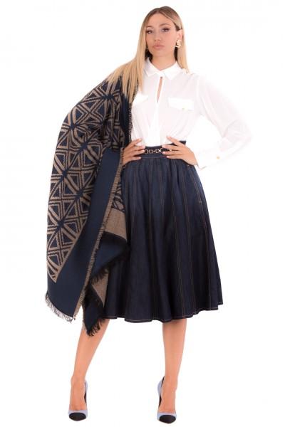 Elisabetta Franchi  Mantella con disegno goemetrico kilim MT03F16E2 Smokey Blue/Tortora