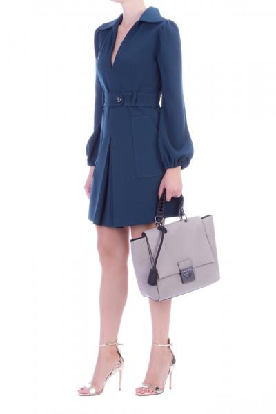 Manila Grace  Mini dress with loose sleeves and belt A518PU BLU PAVONE