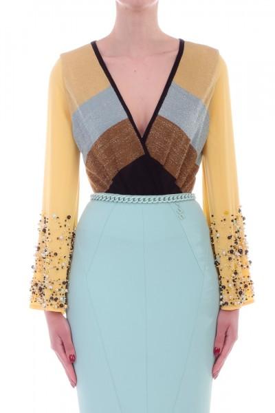 Elisabetta Franchi  Body in maglia multicolor con perline BK28L93E2 Acqua/Polline/Avocad