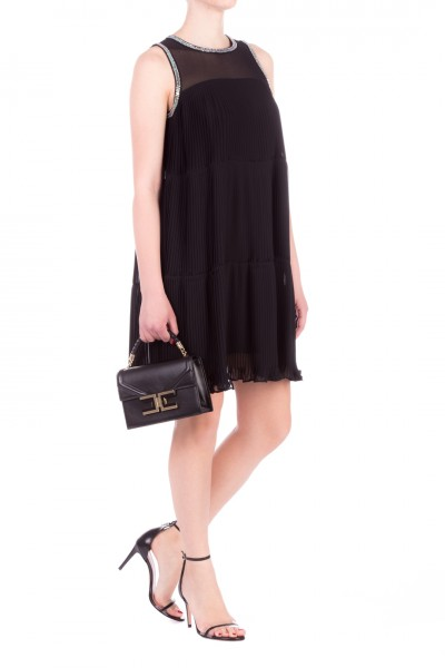 Twin-Set  Pleated mini dress with embroidery 201TT2095 NERO