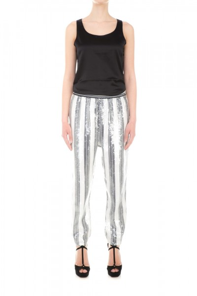 Twin-Set  Striped trousers with sequins TS62HV