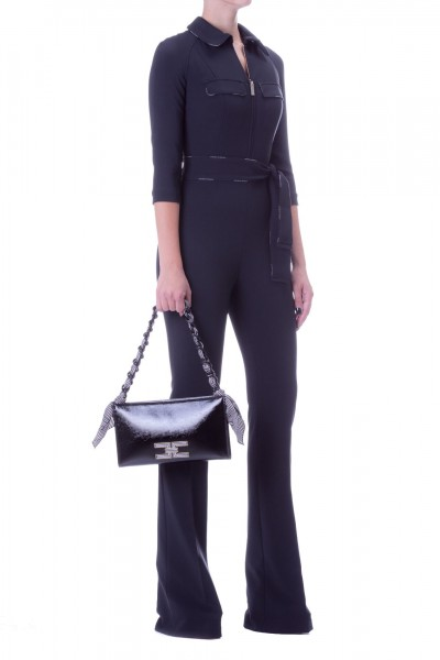 Elisabetta Franchi  Long jumpsuit with sash and branded piping TU19196E2 Nero