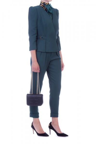 Elisabetta Franchi  Pantaloni a sigaretta con cintura e plissé PA28296E2 Verde bottiglia