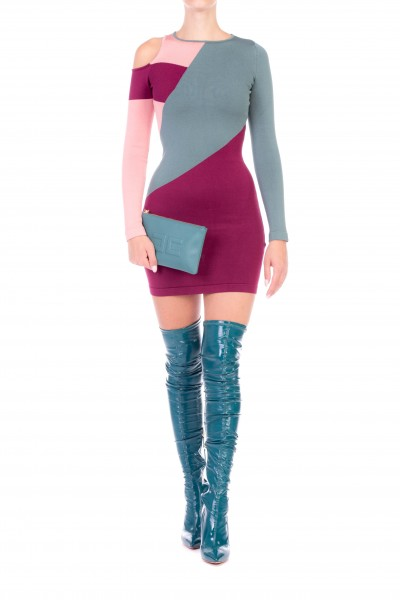 Elisabetta Franchi  Three-colors dress with cut-out shoulder AM11M87E2
