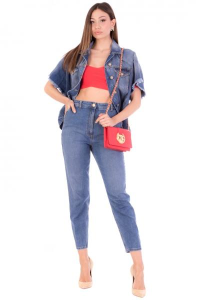Elisabetta Franchi  Jeans a vita alta con ricamo sul retro PJ98D11E2 Light Blue