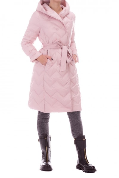 Bosideng  Long quilted jacket with sash and hood F20ITW31030