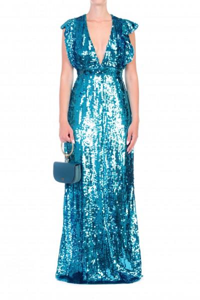 Elisabetta Franchi  Long dress with sequins and ruffles AR15J87E2