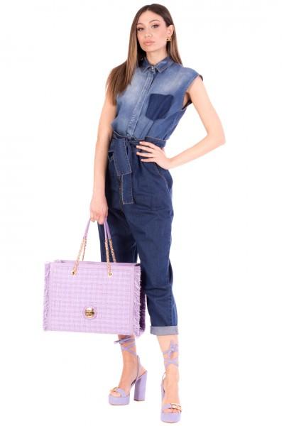 Manila Grace  Sleeveless denim jumpsuit with sash A014D6 MEDIUM BLUE
