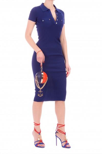 Elisabetta Franchi  Abito in maglia a tubino maniche corte AM12B01E2 Blu Capri