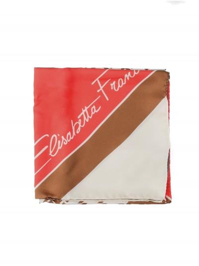 Elisabetta Franchi  Monogram print foulard scarf FO08L06E2 Burro