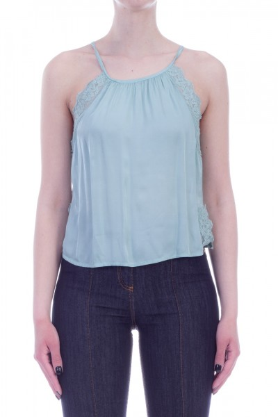 Motel  Top crop con inserti in pizzo 5T012 Menta