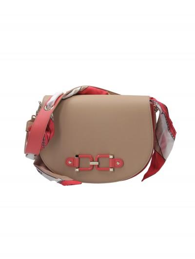 Elisabetta Franchi  Shoulder bag with ribbon BS37A02E2 Cammello/Pompelmo