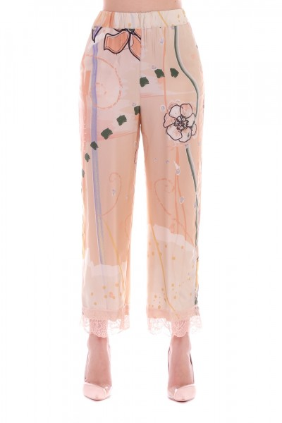 Manila Grace  Floral trousers with lace P692VS VAR.UNICA