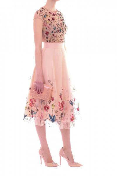 Elisabetta Franchi  Tulle dress with floral embroidery AB65791E2 Cipria