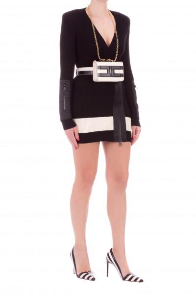 Elisabetta Franchi  Abito in maglia con zip e inserto a contrasto AM90S01E2 Nero/Burro