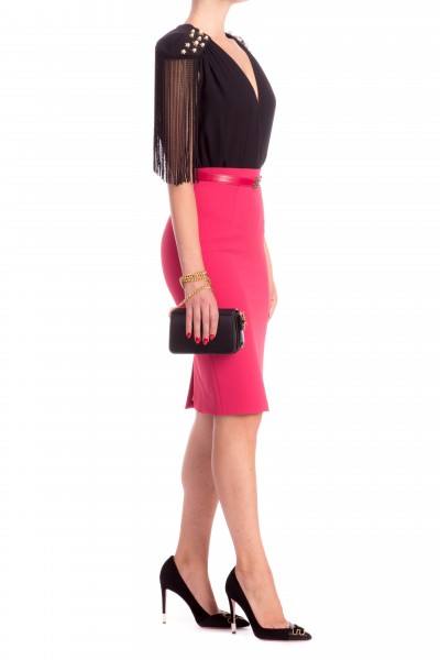 Elisabetta Franchi  Pencil skirt with belt with gold logo GO09786E2