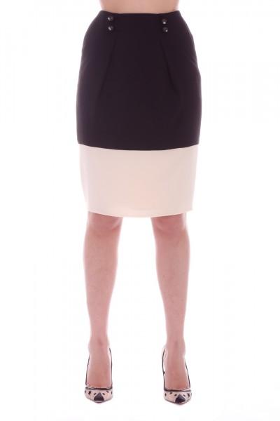 Elisabetta Franchi  Two-tone skirt with buttons GO19991E2 Nero/Burro
