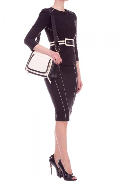 Elisabetta Franchi  Giacca con piping a contrasto e cintura GI12391E2 Nero