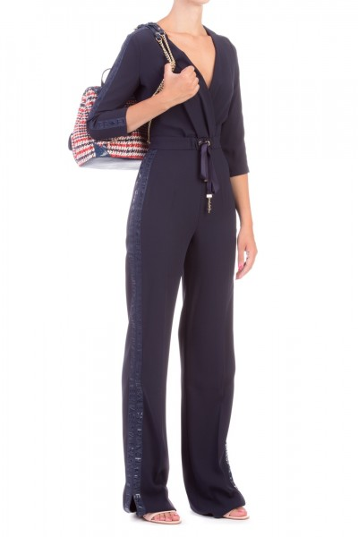 Elisabetta Franchi  Moves line long jumpsuit TU18896E2 Blu