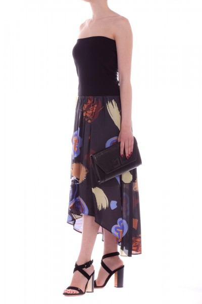 Manila Grace  Asymmetric dress with printed skirt A761VS NERO LAVAGNA
