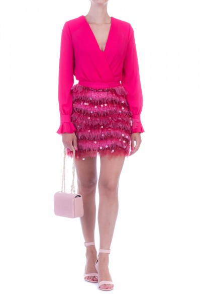 Elisabetta Franchi  Miniskirt with embroideries on the front GO92696E2 Fuxia/Chewingum