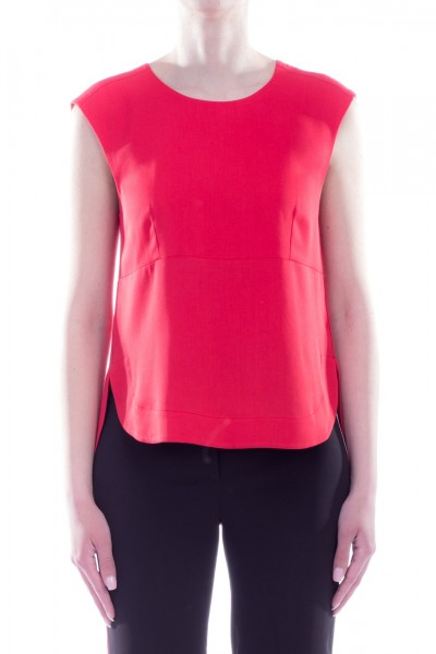Manila Grace  Sleeveless asymmetric top Y268VU ROSSO