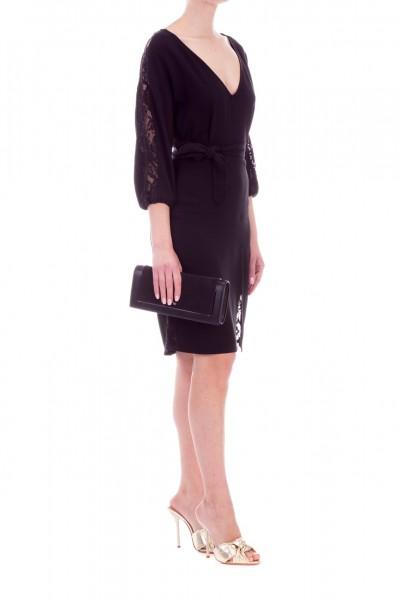 Elisabetta Franchi  Dress with lace insert and sash AB81892E2 Nero
