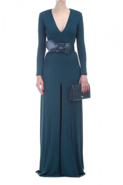 Elisabetta Franchi  Elegant dress with slit and belt AB72991E2 Ottanio