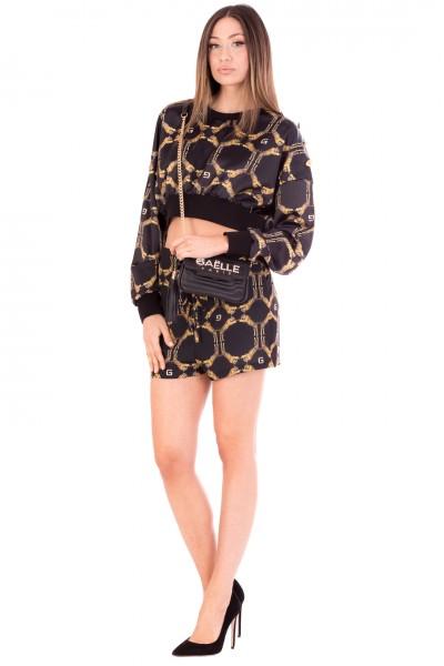 Gaelle Paris  Shorts in Raso Stampati GBD9002 NERO