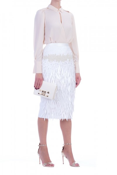 Elisabetta Franchi  Embroidered pencil skirt GO33398E2 Avorio