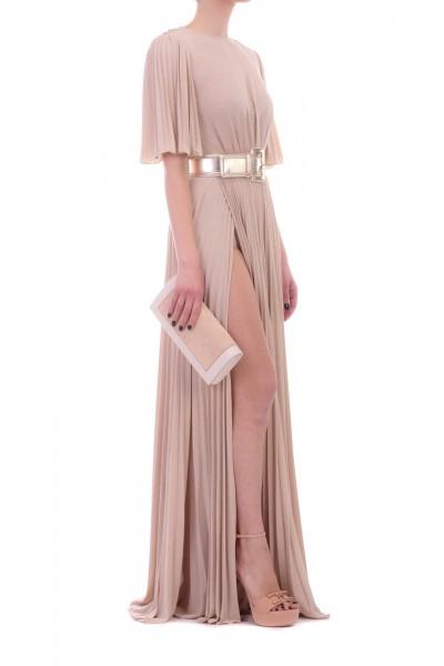 Elisabetta Franchi  Long pleated dress with belt AB79192E2 Cipria