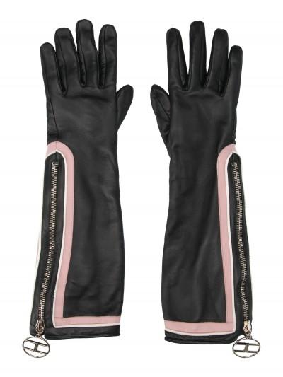 Elisabetta Franchi  Two-colour long gloves GU02R97E2 Nero