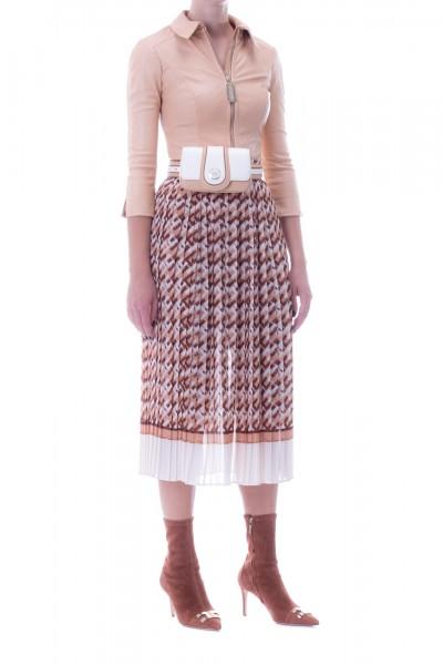 Elisabetta Franchi  Two-colour pleated skirt with logo GO28796E2 Caffelatte