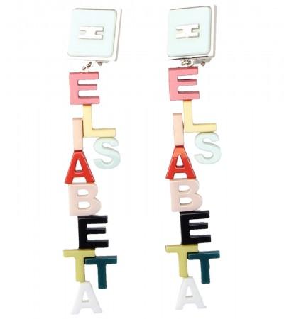 Elisabetta Franchi  Earrings with multi-tone lettering OR69A92E2 Multicolor