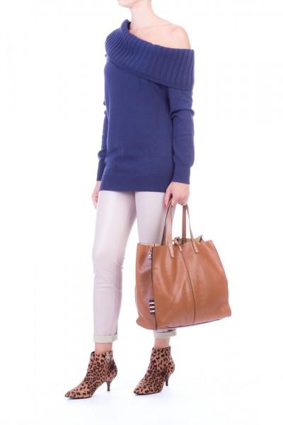 Manila Grace  Wide collar sweater with cut-out M082WU BLU