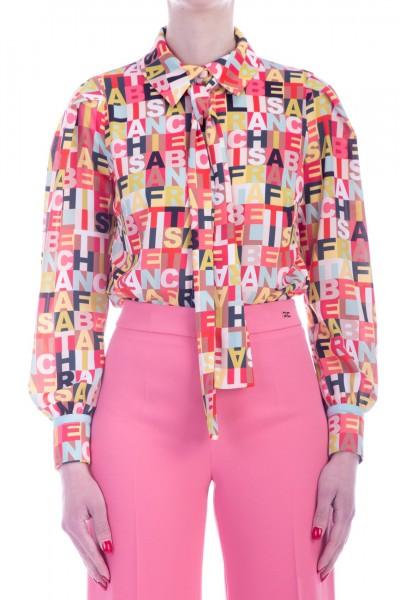 Elisabetta Franchi  Multi-tone shirt with lettering print CA18392E2 Multicolor