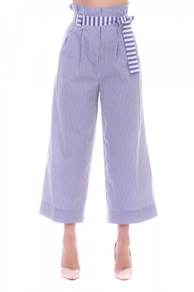 Manila Grace  Striped trousers with sash P520CI BLUETTE