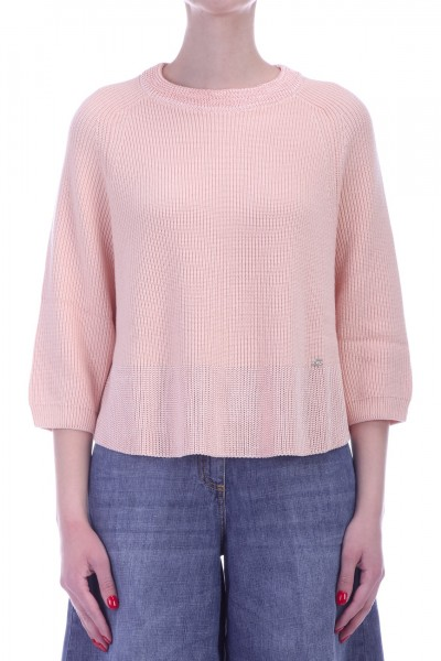 Elisabetta Franchi  Knit top with three quarter sleeves MK11L91E2 Cipria