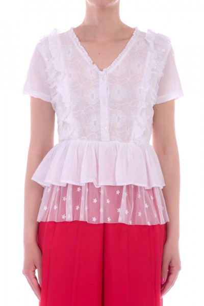 Manila Grace  Embroidered shirt with flounces and ruffles C551CR BIANCO OTTICO