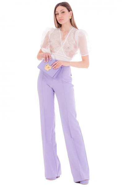 Elisabetta Franchi  Palazzo trousers with piping in double crepe fabric PA37911E2 Lavanda