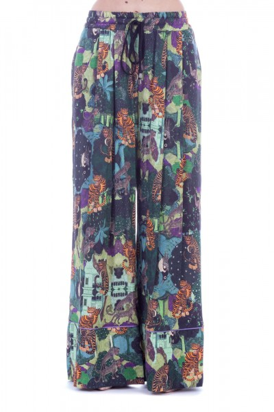 Motel  Patterned palazzo trousers with drawstring DPPA03311 Fantasia